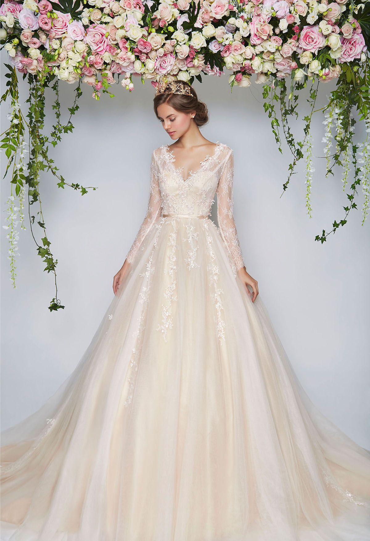 Cream vneck wedding ball gown with lace sleeves // The