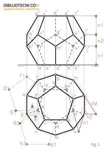 Dodecaedro con una de sus caras apoyada en el plano horizontal de proyección.