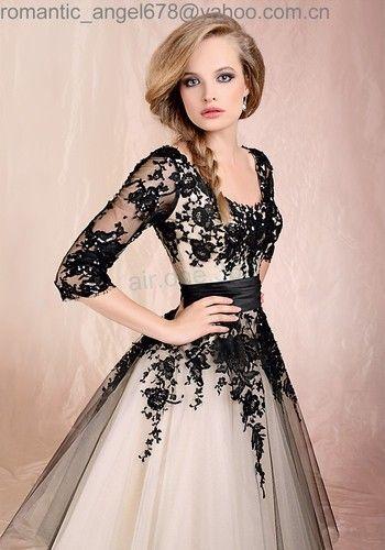 c6dac03d8c6 Details zu Lager Schwarz weiß Kurz Brautkleid Kleider Abendkleid auf ...