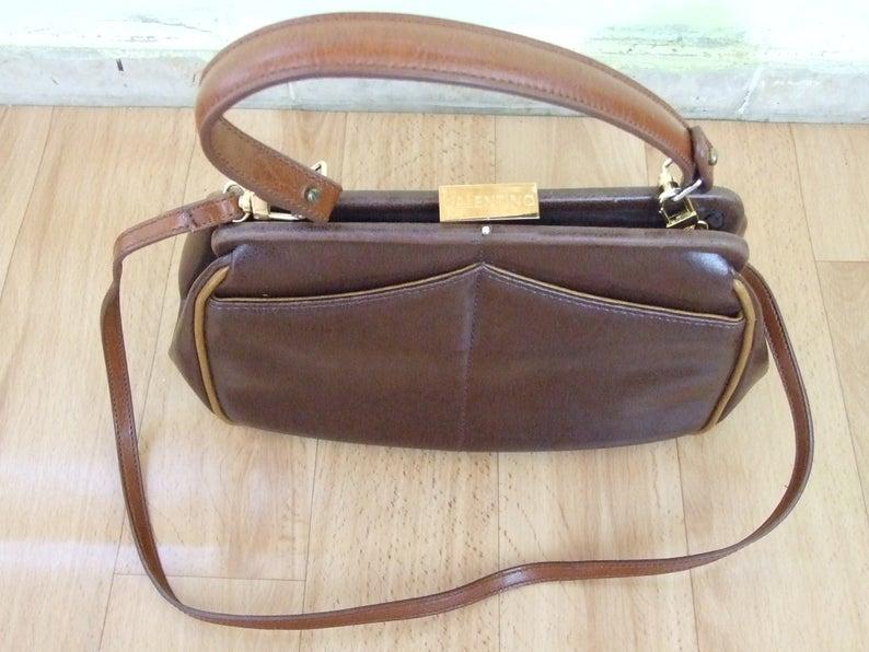 Vintage Valentino By Mario Valentino Designer Handbag Brown Genuine Leather Bag Rare Vintage Handbag Vintage Accessory Designer Bag In 2020 Genuine Leather Bags Vintage Valentino Bags Designer