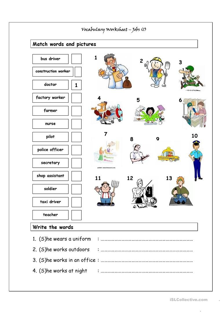 Worksheets Vocabulary Matching Worksheet vocabulary matching worksheet jobs 1 free esl printable worksheets made by teachers