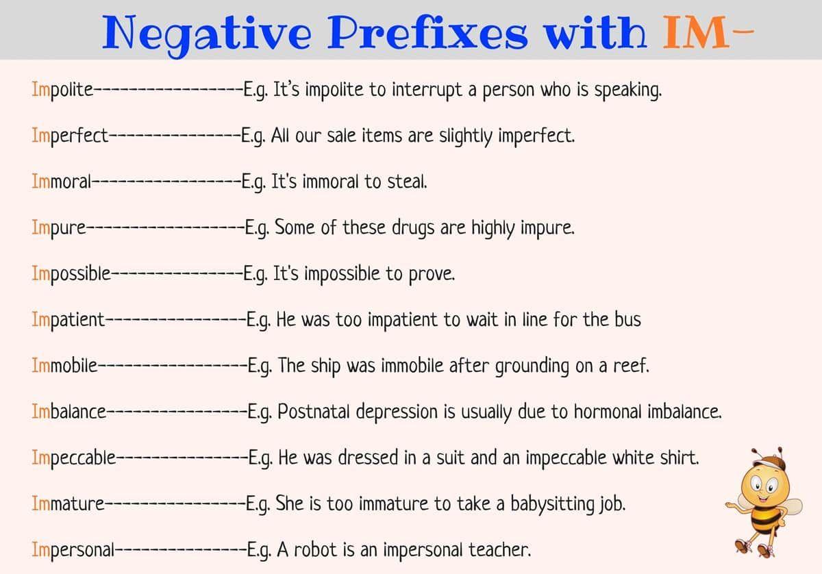 Negative Prefixes Dis Im In Ir Il Non Un