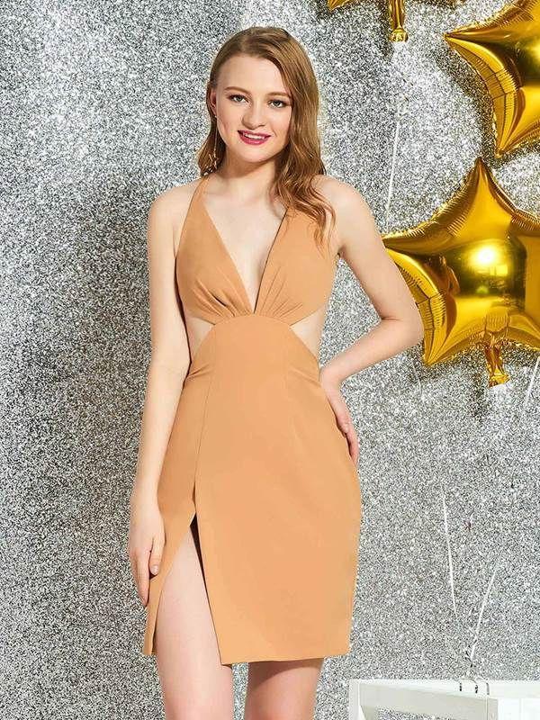 V-Neck Sheath Backless Cocktail Dress #backlesscocktaildress