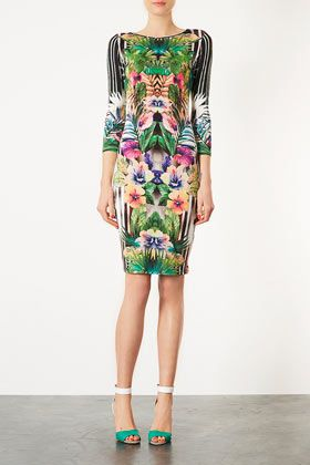 Botanical Floral Bodycon Dress