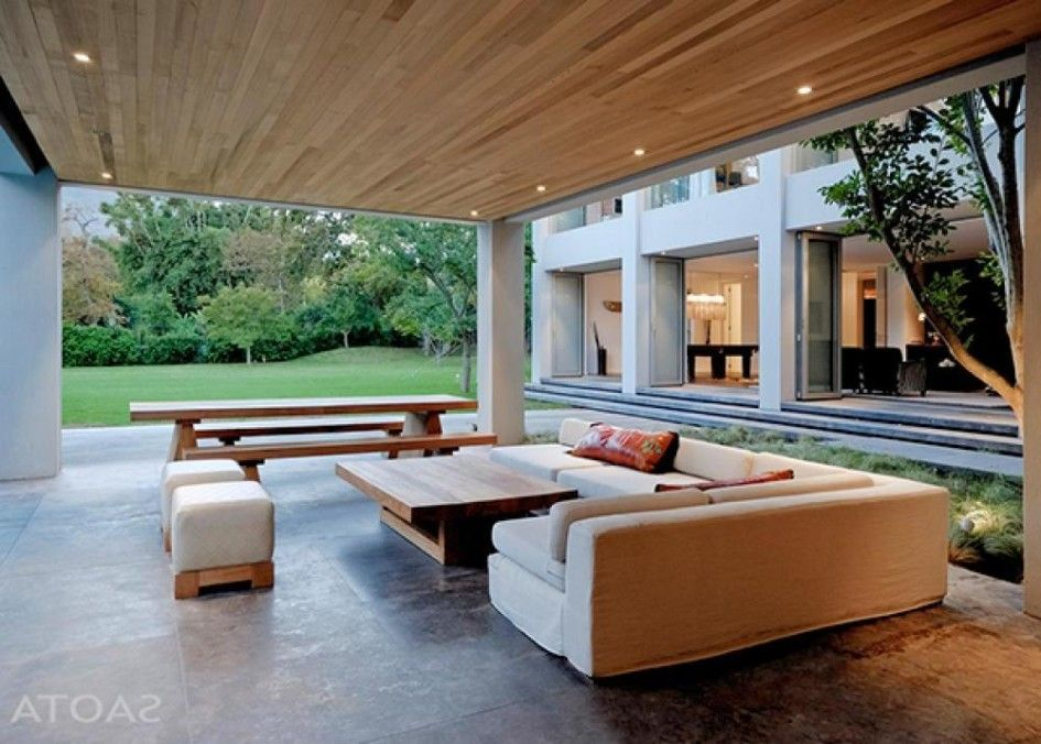 Wooden Patio Ceiling With Beautiful Furniture Sets Design Modern
