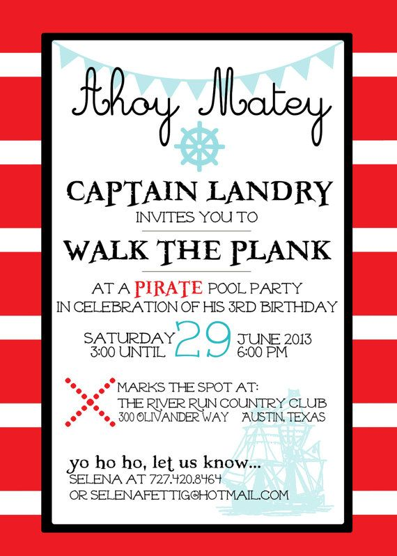 Jake Pirate Party Invitation 5x7 Digital File By BeanPress On Etsy I Like The Wording This One As Well Especially Rsvp Part