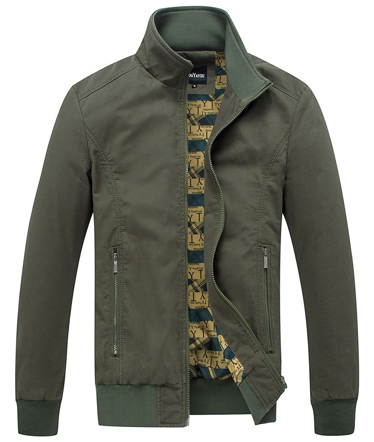 Men's Essential Cotton Lightweight Bomber Jacket Army