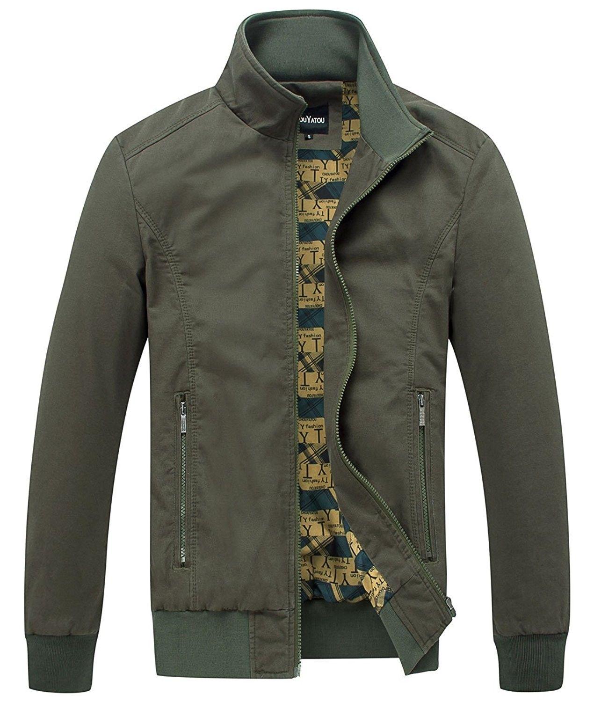 Men's Essential Cotton Lightweight Bomber Jacket Army