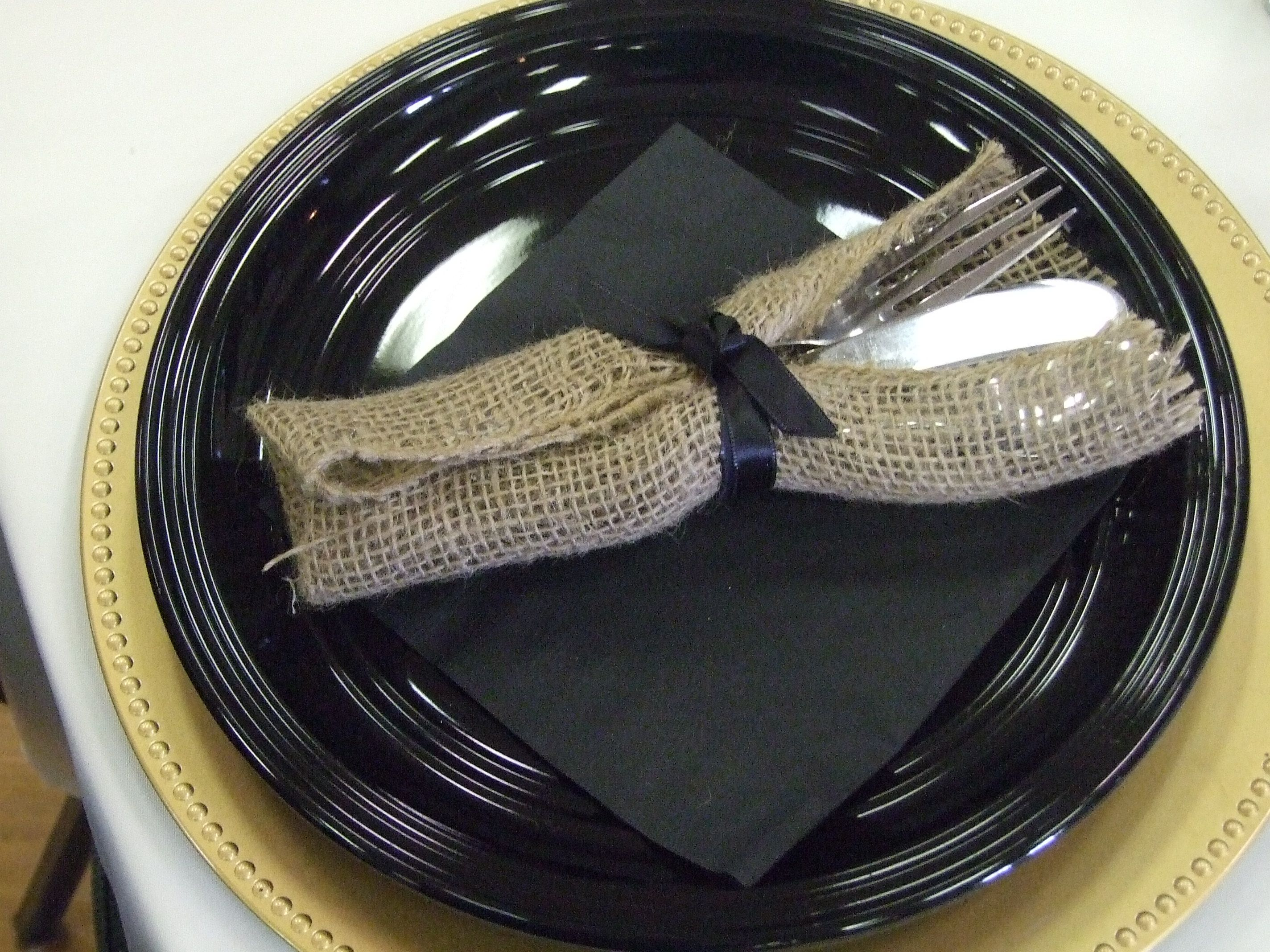 Simple elegance! Wrap your flatware in burlap and a coordinating ribbon for an added, special touch!