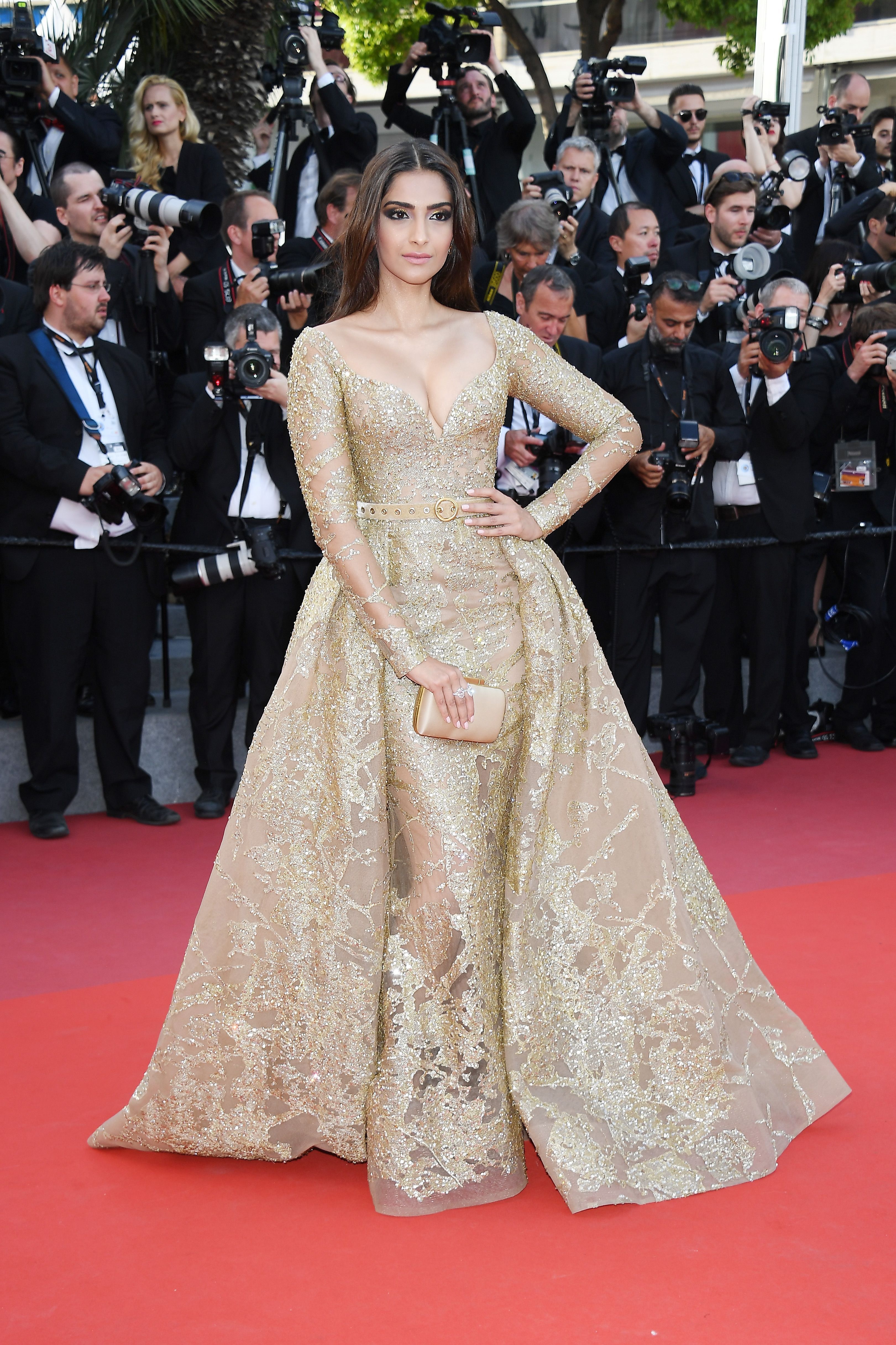 323ec75c4b8 Sonam Kapoor in custom ELIE SAAB Haute Couture at the  The Killing Of A  Sacred Deer  screening during the 70th annual Cannes Film Festival.