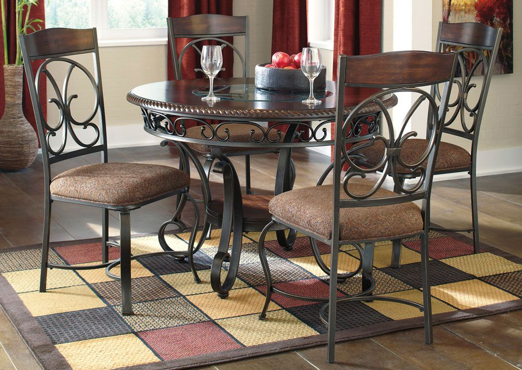 Unclaimed Freight Furniture Union City Ga Glambrey Round Dining Table W 4 Side Chairs Round Dining Table Sets Wooden Dining Chairs Dining Room Sets #unclaimed #freight #living #room #sets