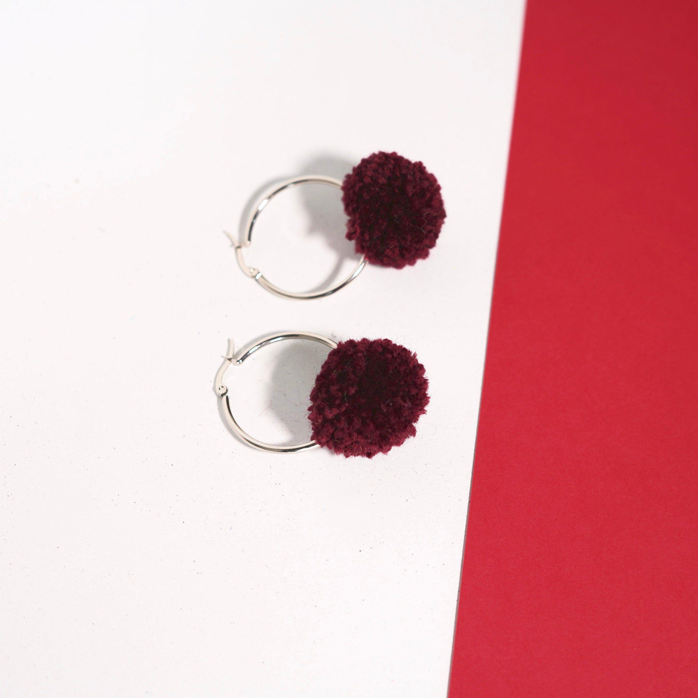f0cbdc062a88af Burgundy red pom pom hoop earrings, Medium pompom hoops, Festival earrings,  Stainless steel
