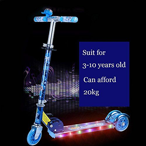 Bigants Light Music Kids Kick Scooter For Boys And Girls Blue You Can Get Additional Details At The Image Link Kid Kick Music For Kids Kids Scooter