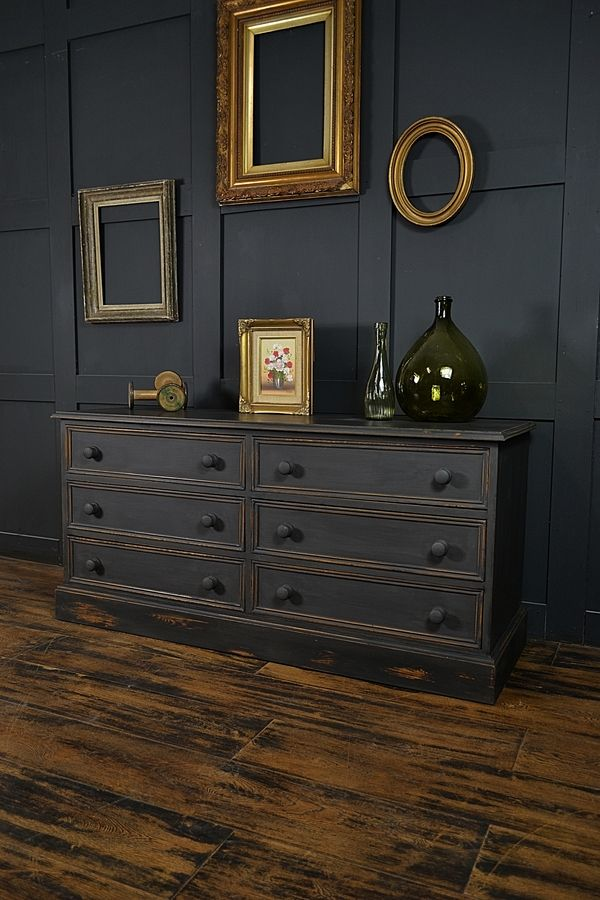 Best Black Low Level Shabby Chic Chest Of Drawers Artwork 400 x 300