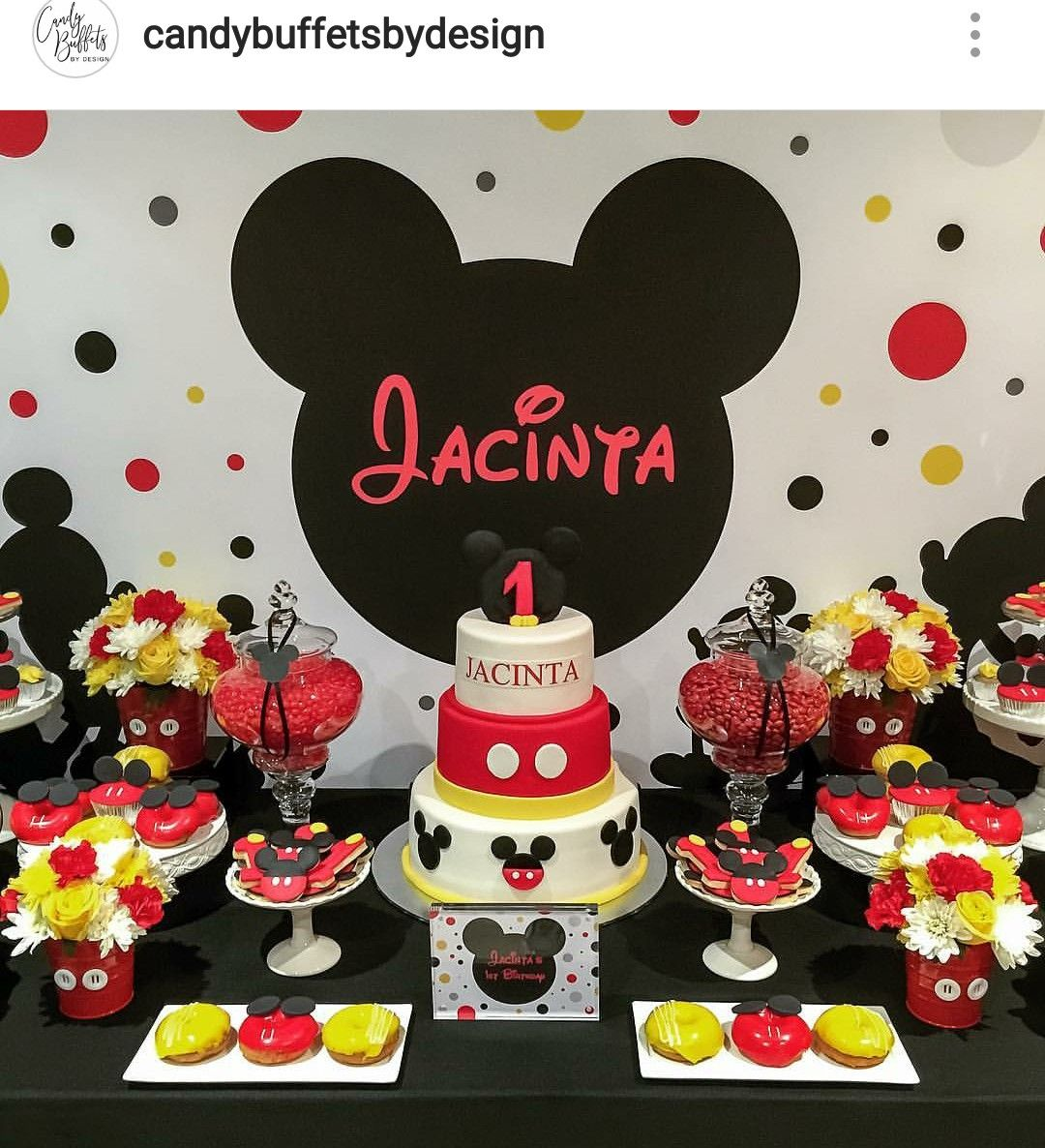 Minnie Mouse Birthday Party Dessert Table And Decor Mickey Mouse Birthday Cake Fiesta Mickey Mouse Mickey Mouse Themed Birthday Party