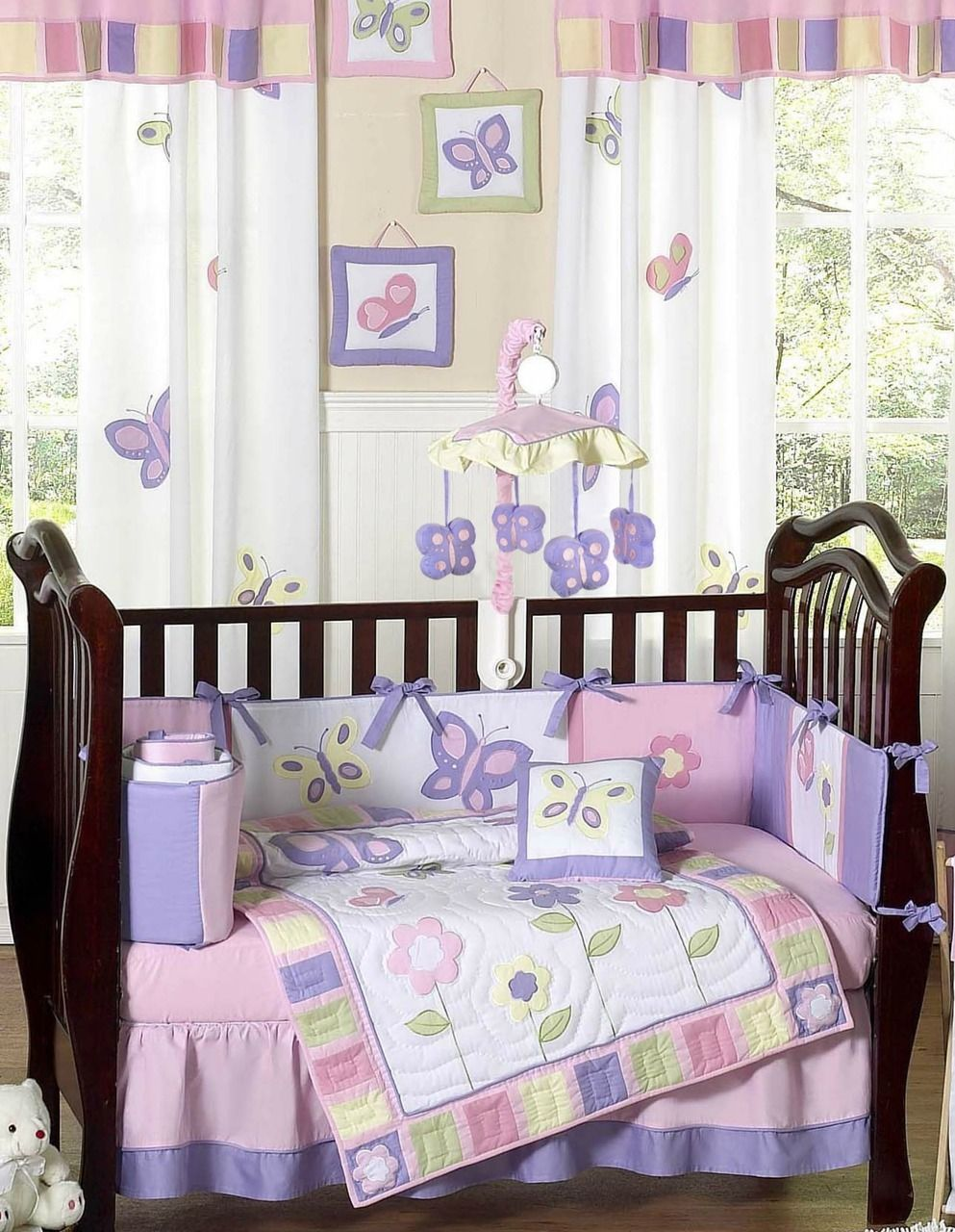 Pink And Purple Butterfly Girls Baby Bedding 9 Piece Crib