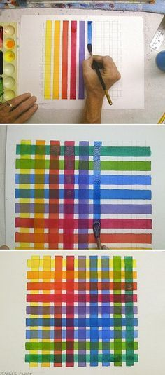 Watercolor Technique For Testing Colors With A Color Grid Art