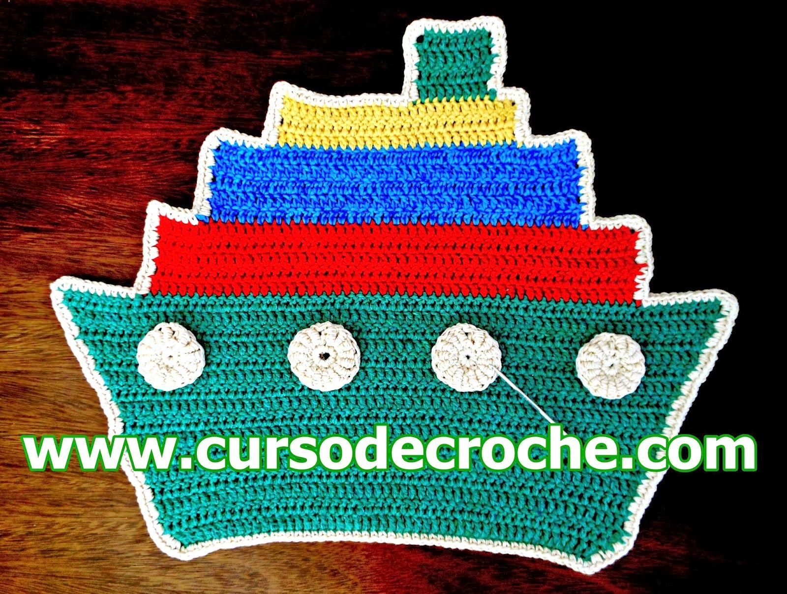 tapete aprender croche infantil navio coloridos sobras fios edinir-croche blog youtube