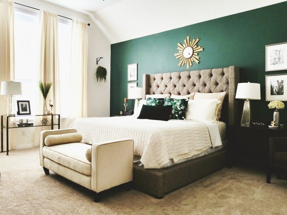 Romantic Master With Hunter Green Accent Wall 1000 In 2020 Hunter Green Bedrooms Green Accent Walls Green Bedroom Walls