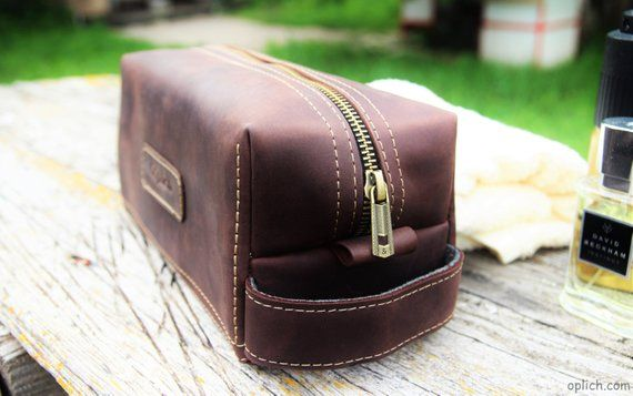 93755bd826 Personalized Travel Bag for Him   Leather men s toiletry bag  Dark Brown  Waxed Leather Kit   Groomsm
