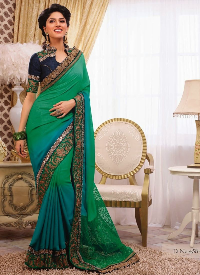 Sea Green Color Party Wear Designer Sarees Collection available on http://www.wholesalesalwar.com/sarees?catalog=vogue-1142