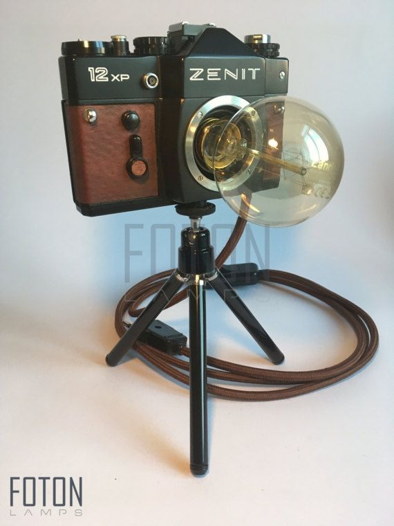 a1a5b63e104b Handcrafted lamp made from a vintage Zenit camera. It comes with a 180 cm  long textil cord. Bulb is not included (E27
