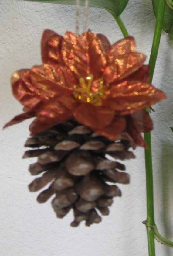 Pinecone Christmas ornament with bronze flowers by crazicandi, $3.00