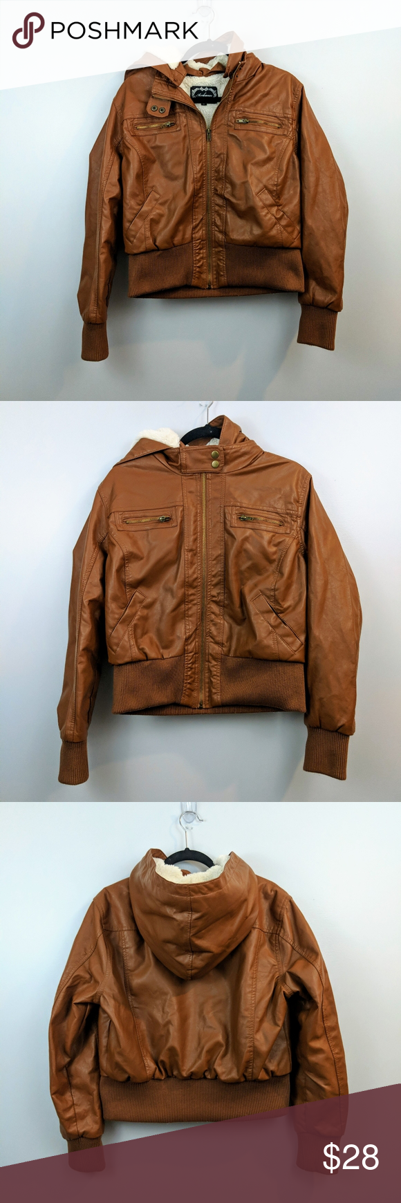 Ambiance Brown Faux Hooded Leather Jacket Leather Jacket With Hood Leather Jacket Leather Bomber Jacket [ 1740 x 580 Pixel ]