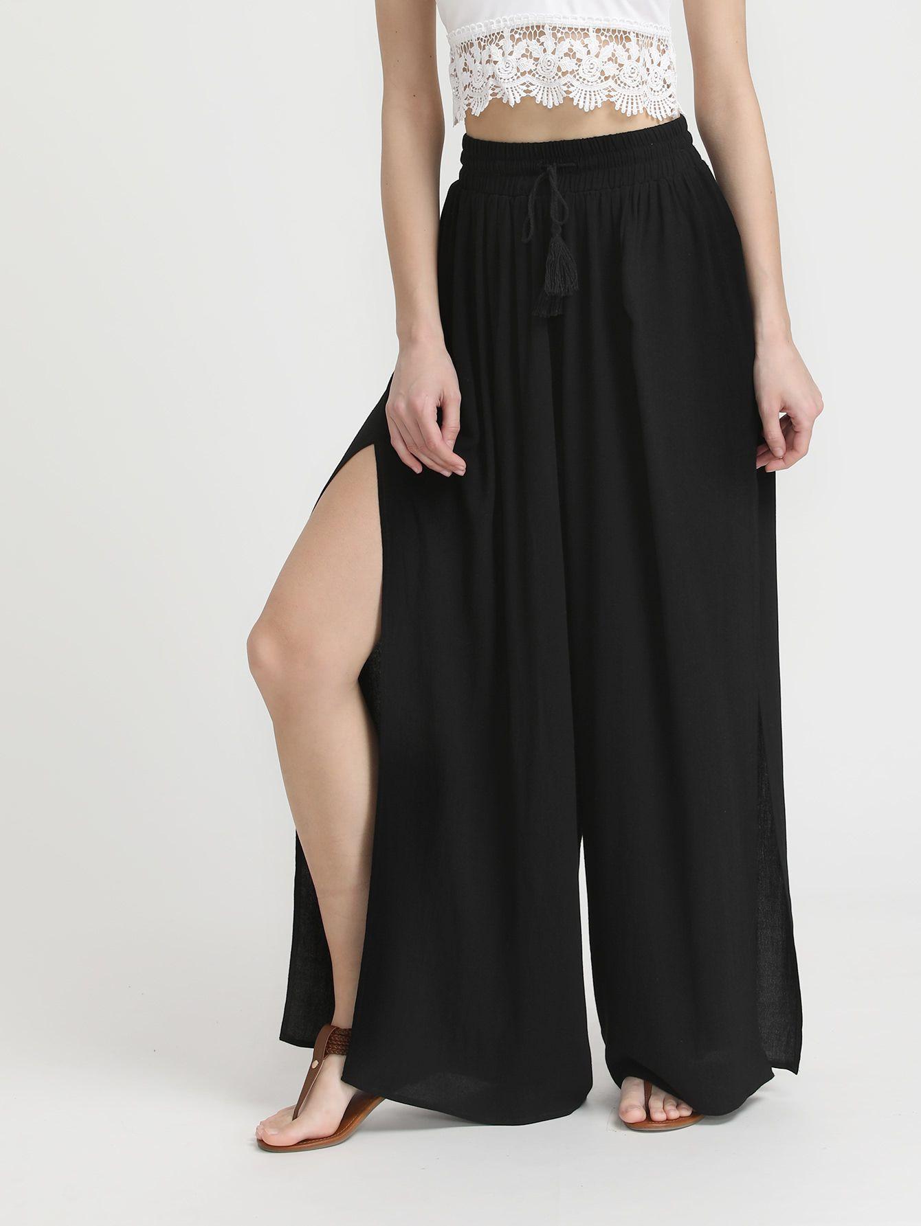 Pantalones palazzo con cordón con aberturas laterales -Spanish  SheIn(Sheinside) a530732391e2