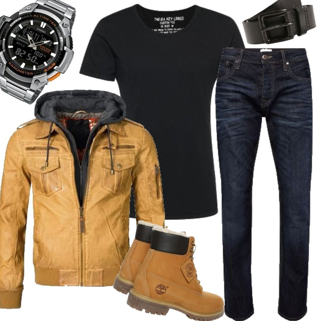 Braun Key Jeans Shirt Largo Indicode Aaron Ocker Lederjacke TlK1FJ35uc