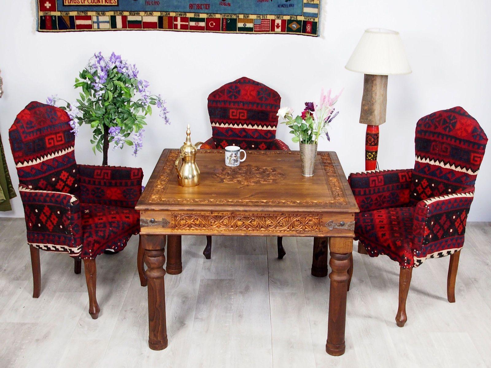Bezaubernd Esstisch 100x100 Referenz Von Cm Antik-look Orient Massiv Holz Tisch Küchentisch