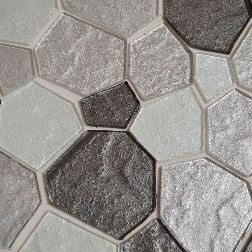 Random Pattern Metallic Glass Mosaic Tile Kitchen Backsplash