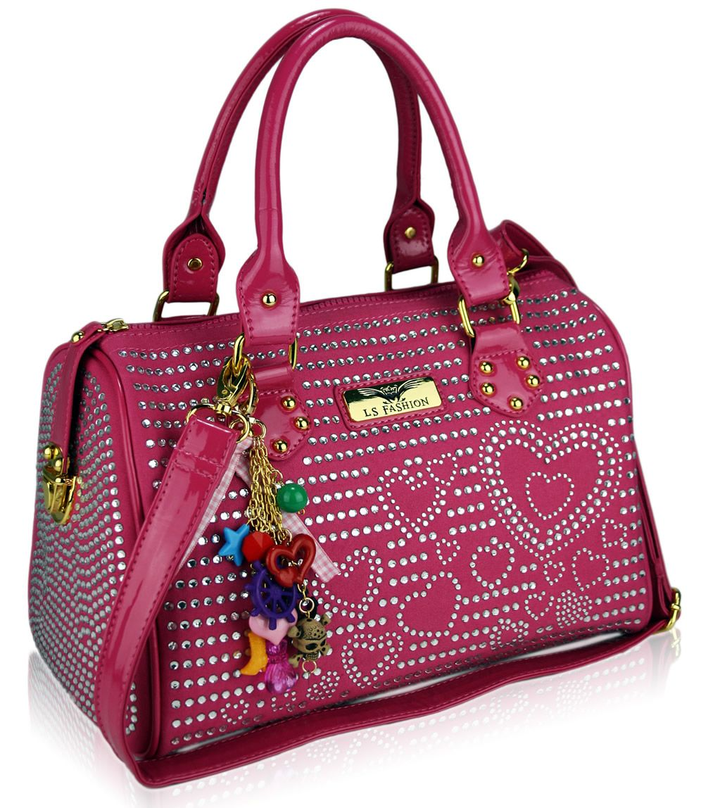 designer handbags | Ladies Designer Pink Heart Diamante Bowling Handbag - KCMODE