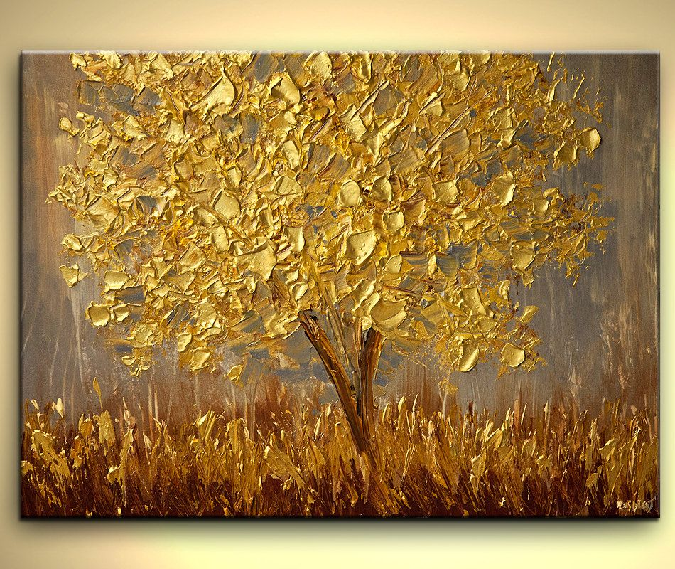 Original Large Contemporary Textured Gold Blooming Tree