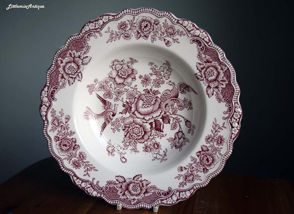 Vintage Crown Ducal Made In England English Ironstone Bristol Pattern Classical Pink Transferware Soup Plate Bowl Retro E Transferware Soup Plating Tableware