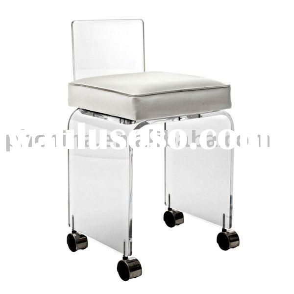 Clear Acrylic Vanity Stool With Leatherette Cushion Clear Acrylic Small Vanity Stool With Wheels Vanity Stool Stool With Wheels Small Vanity