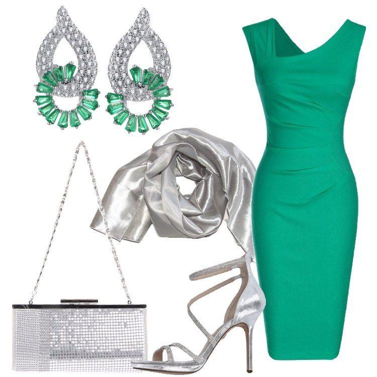 Outfit chic pensato per una serata importante o una cerimonia  vestito  verde a tubino di 260b69e728b