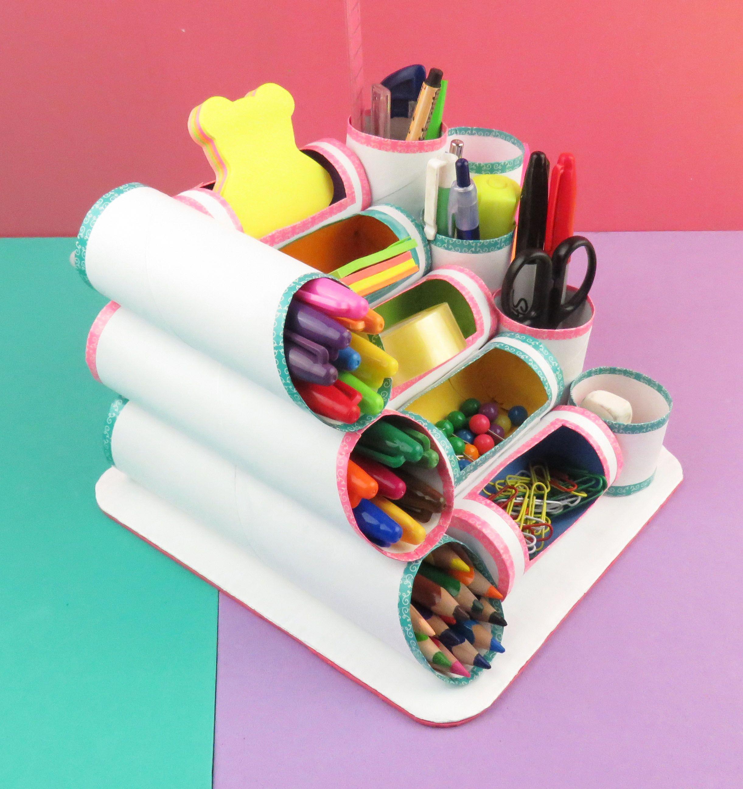 Mini organizador con rollos de papel higi nico o cocina for Trabajos artesanales para hacer en casa