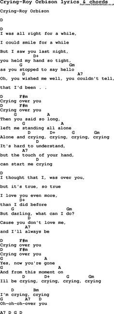 Love Song Lyrics for: Crying-Roy Orbison with chords for Ukulele ...