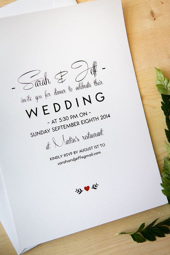 wedding invitation package simple and elegant typography via etsy