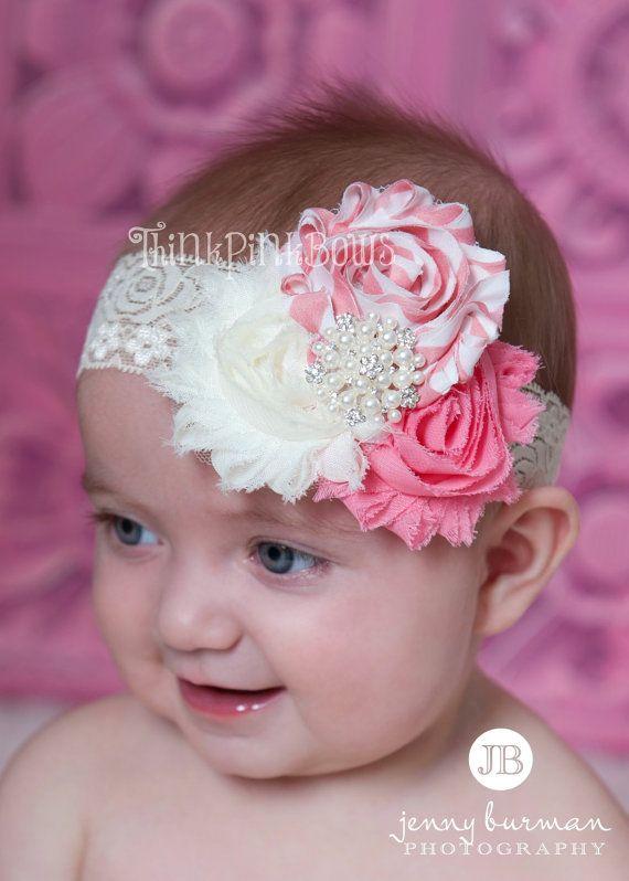 White rose baby headband white floral baby headband lace headband pearl headband photo prop white rose trio headband baby shabby chic lace