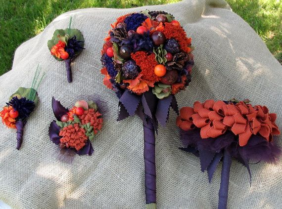 5 Pieces package Bridal bouquet fall by lisesimplecreations, $175.00