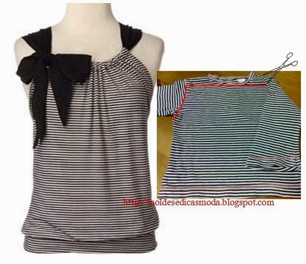 Reciclagem de t shirts explicada com desenho na imagem recyclage v tements et relooking - Idees recyclage vetements ...
