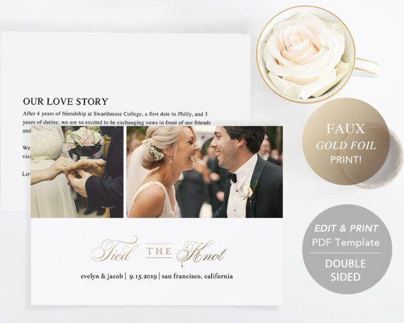 Printable Wedding Announcement Template Elopement Announcement