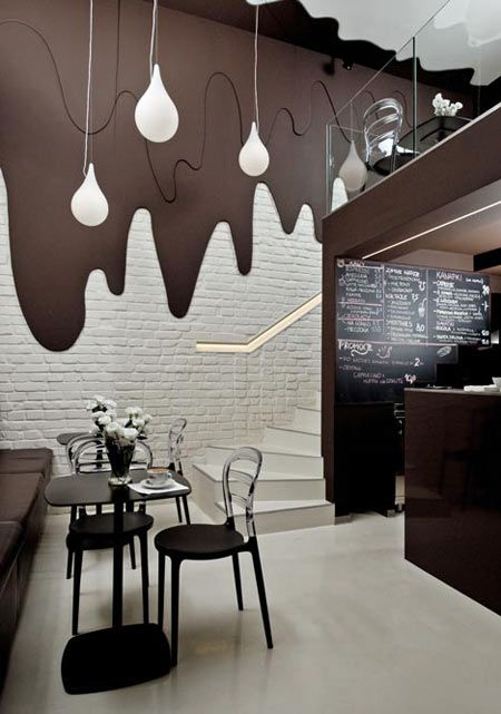 restaurant wall design by brokat polish cafe chocolate wall and rh pinterest com