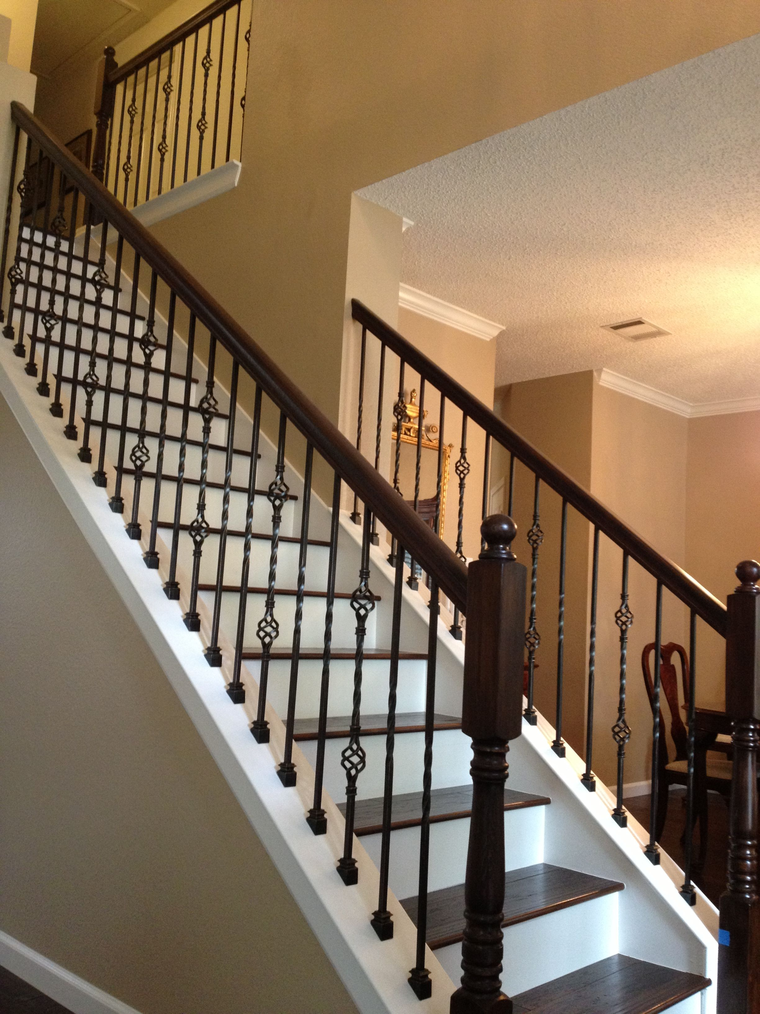 Wrought Iron Balusters With Wood Treads Jpg 2448 3264 Stair Railing Makeover Wrought Iron Staircase Interior Stair Railing