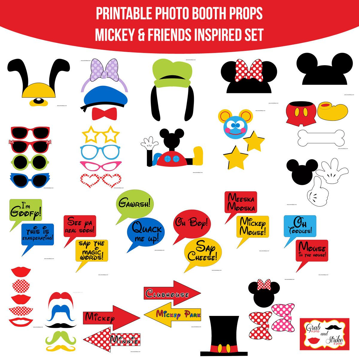 photograph relating to Free Printable Mickey Mouse Photo Booth Props known as Pin through Annarosa Camiro upon Emilena Mickey mouse clubhouse
