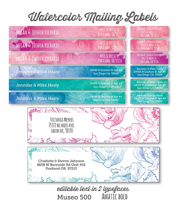 Free printable watercolor address labels Printable Labels and - mailing address labels template