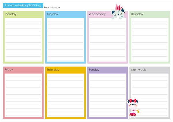 Planner and Journaling Printables ❤ Free Kuma Printable Weekly - free printable weekly planner