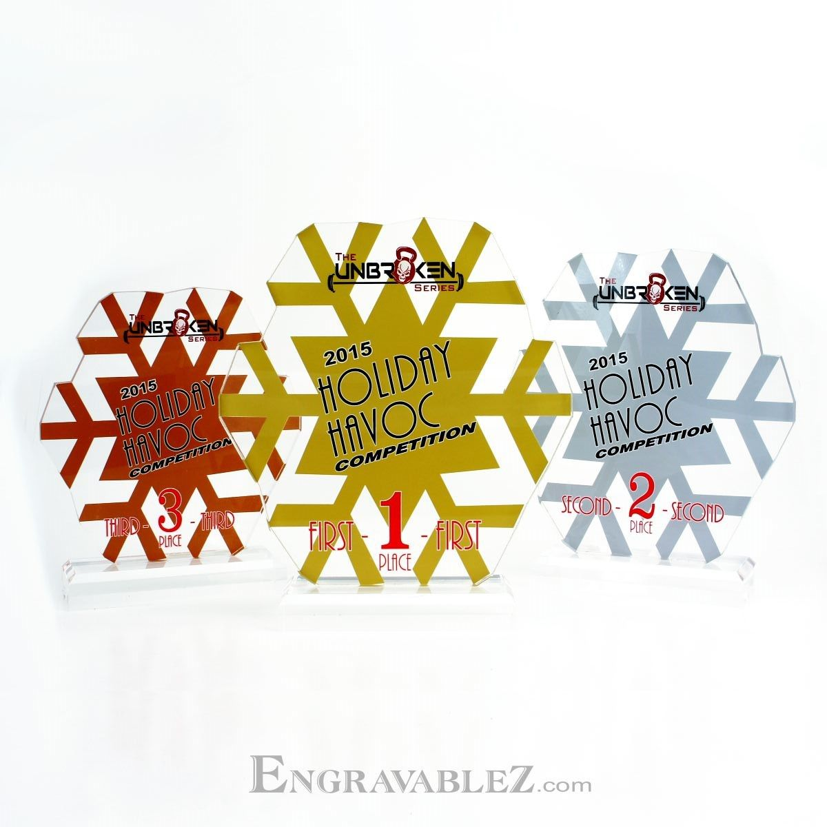 Custom Acrylic Awards for the Holiday Havoc - CrossFit Challenge #TemepTrophy (www.EngravableZ.com)